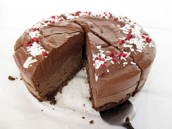 Vegan Gluten-free Nut-free Dairy-free No-Bake Raw Double Chocolate Cake Recipe