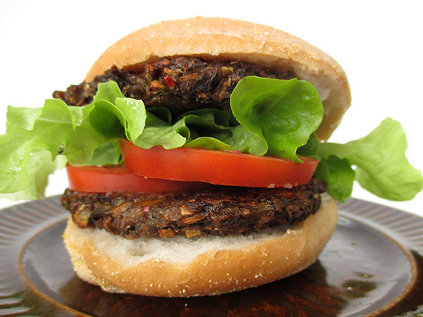 Vegan Gluten-free Oil-free Low-Fat Mushroom Burger Recipe
