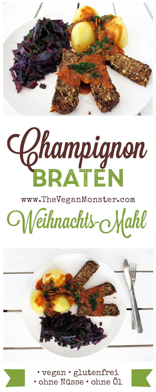 veganer glutenfreier nussfreier champignon pilz braten weihnachts essen rezept