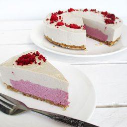 No-Bake Vanilla Raspberry Cake (Vegan, Gluten-free)