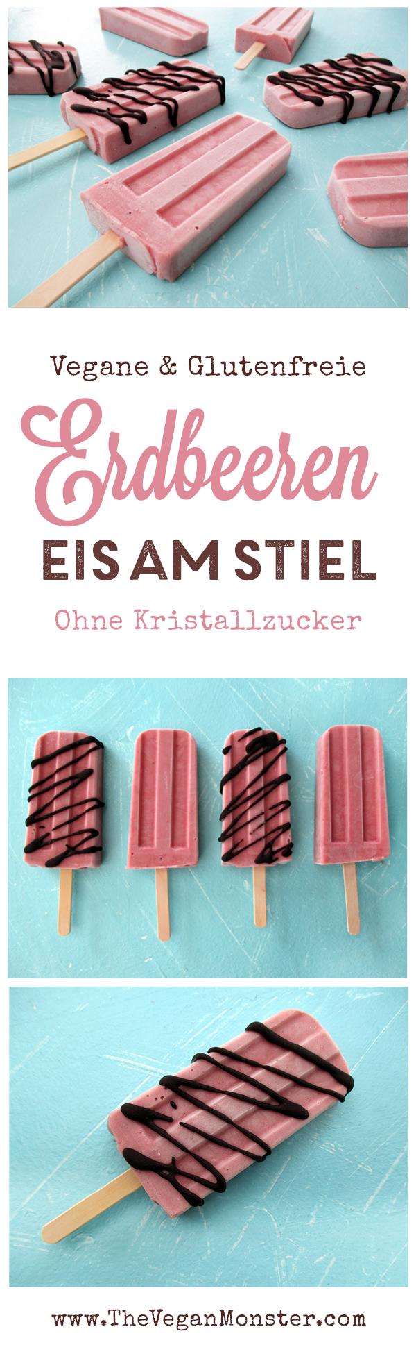 Veganes Glutenfreies Erdbeer Eis Am Stiel Rezept Ohne Kristallzucker Ohne Milch