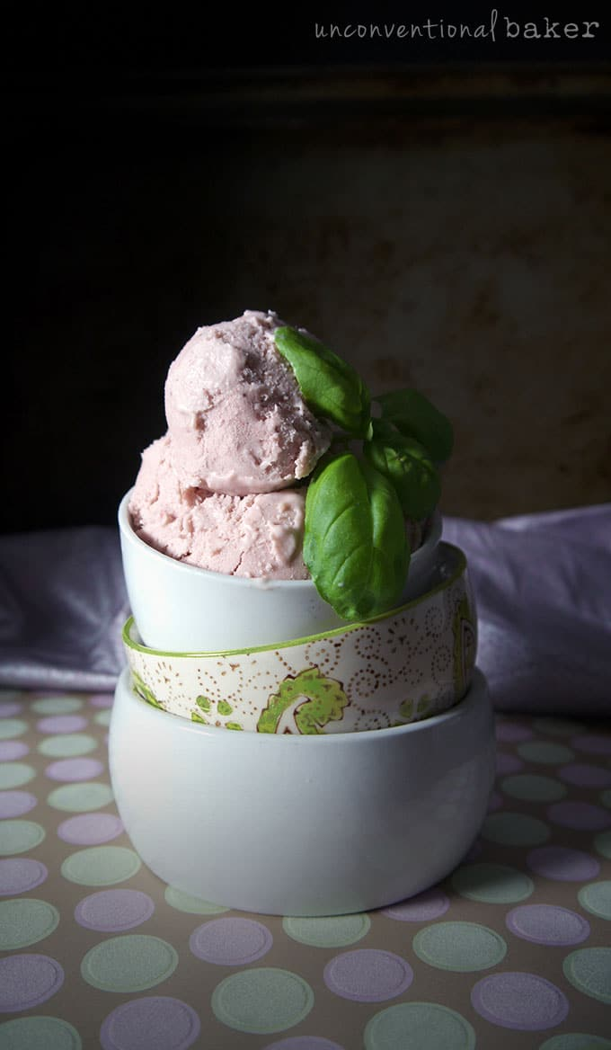 Balsamic Strawberry Basil Ice-Cream Recipe by Unconventional Baker