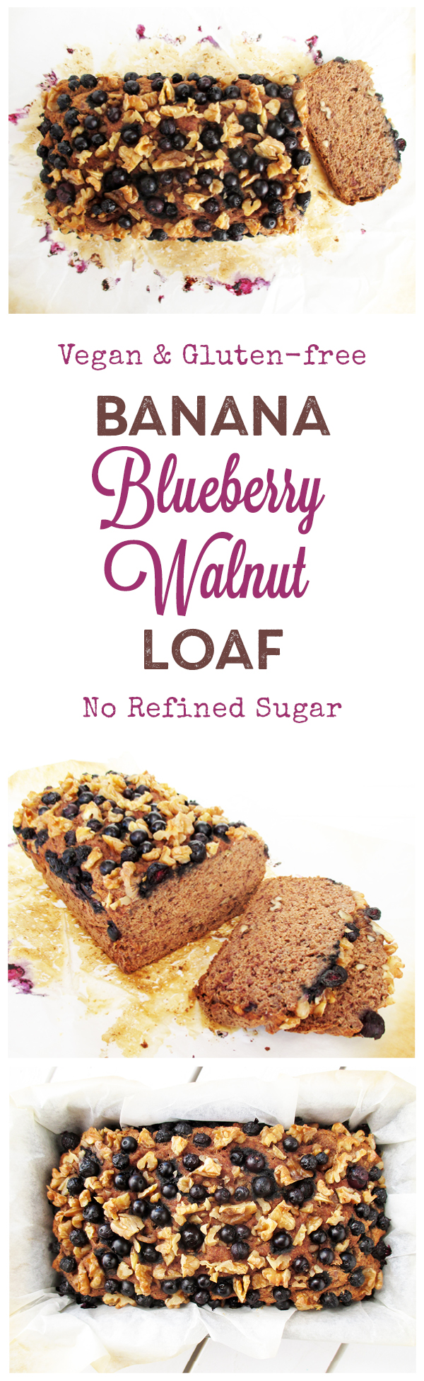 Vegan Gluten-free Banana Walnut Blueberry Loaf Without Refined Sugar Recipe
