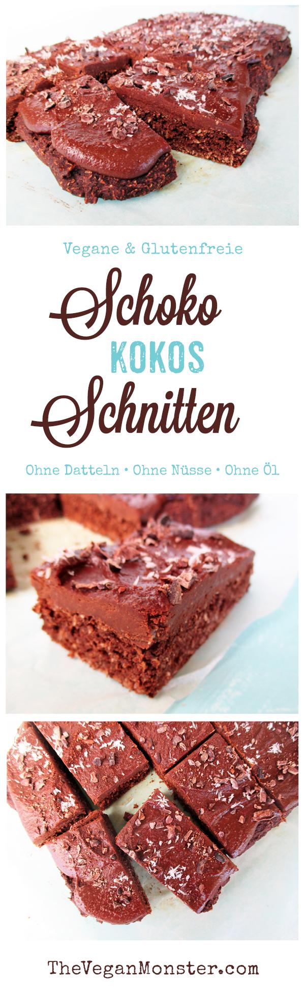 Vegane Glutenfreie Schoko Kokos Kuchen Schnitten Ohne Kristallzucker Ohne Oel Rezept