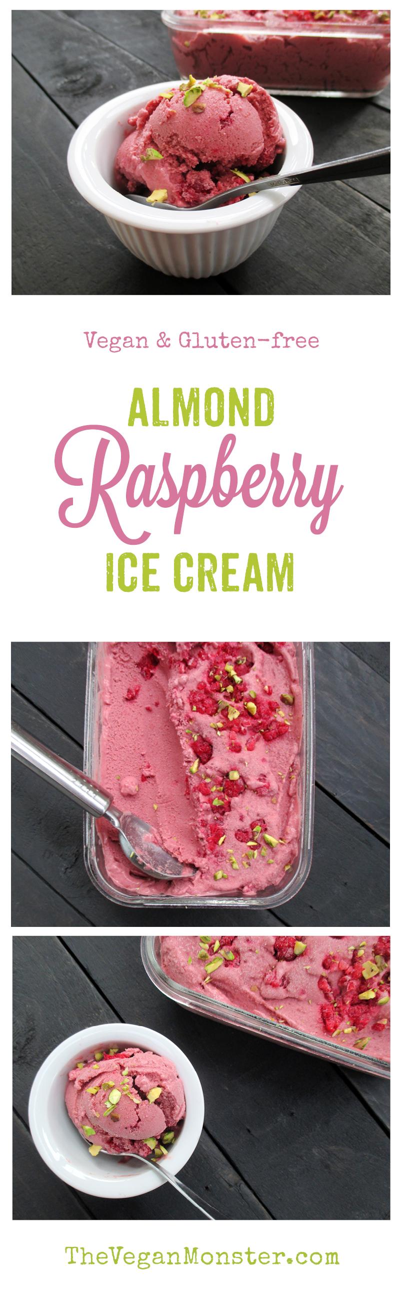 Vegan Gluten-free Refined Sugar Free Almond Raspberry Ice Cream Recipe