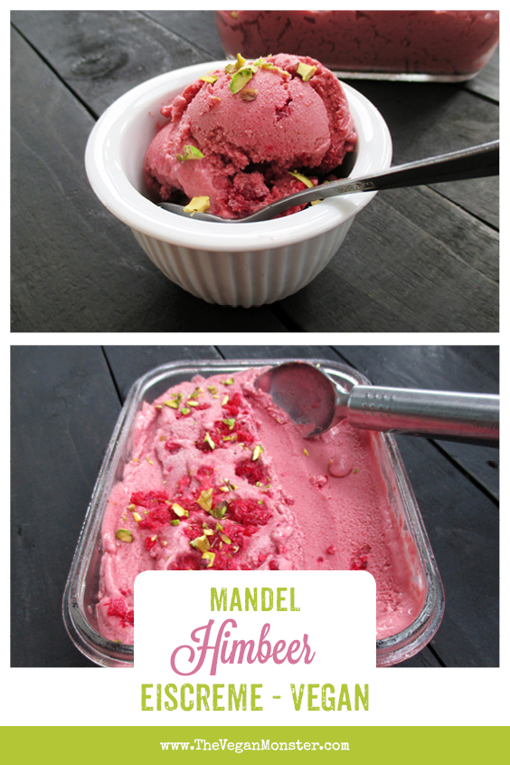 Vegan Gluten-free Refined Sugar Free Almond Raspberry Ice Cream Recipe