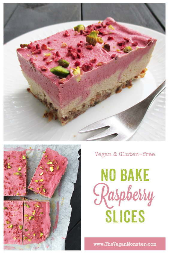 Vegan Gluten-free No Bake Raspberry Almond Cake Slice Recipe