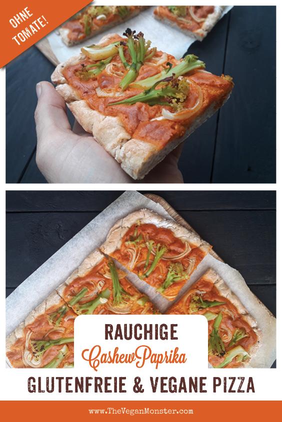 Vegane Glutenfreie Pizza mit Rauchiger Cashew Paprika Sosse Ohne Tomate Rezept