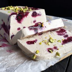 Berry Vanilla Semifreddo (Vegan, Gluten-free, Fruit-Sweetened)