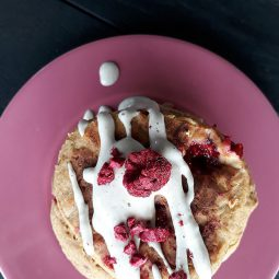 Apricot Raspberry Pancakes (Vegan, Gluten-free, Fruit-Sweetened, Oil-free)